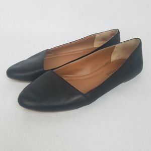 Lucky Brand Black Leather Asymmetrical Flats Shoes